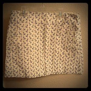 J Crew Anchor Print Cotton Mini Skirt